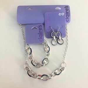Claire's Silver Enamel Link Statement Jewelry